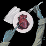 A digital painting of two blue-green hands holding cutlery, and cutting into a heart on a plate